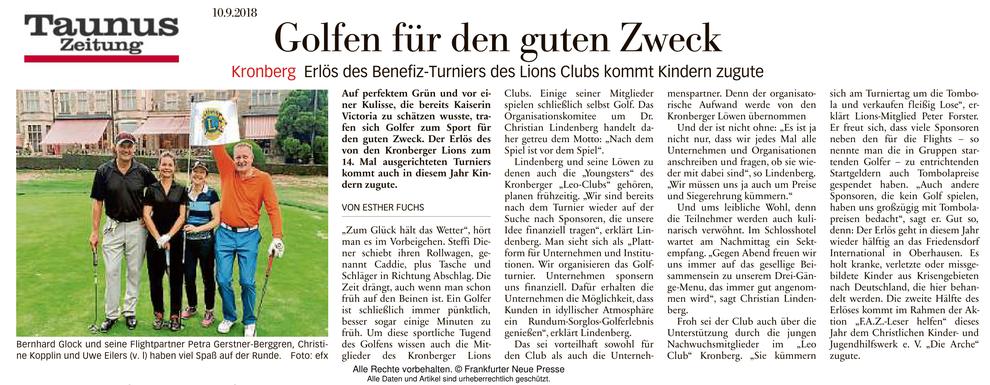 Taunus Zeitung Artikel Golfen für den guten Zweck - Lions Kronberg