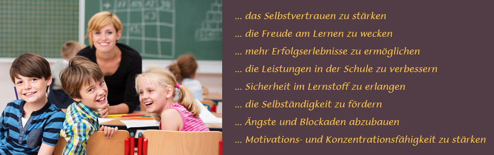Ziel des Lerncaoching ist das Selbstvertrauen zu stärken, Freude am Lernen wecken, mehr Erfolgserlebnisse ermöglichen, Leistungen in der Schule verbessern, Sicherheit im Lernstoff, Selbständigkeit fördern, Angst und Blockaden abbauen, Motivation stärken