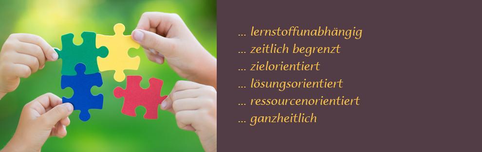 Lerncoaching oder eine Lernberatung ist lernstoffunabhängig, zeitlich begrenzt, zielorientiert, lösungsorientiert, ressourcenorientiert, ganzheitlich