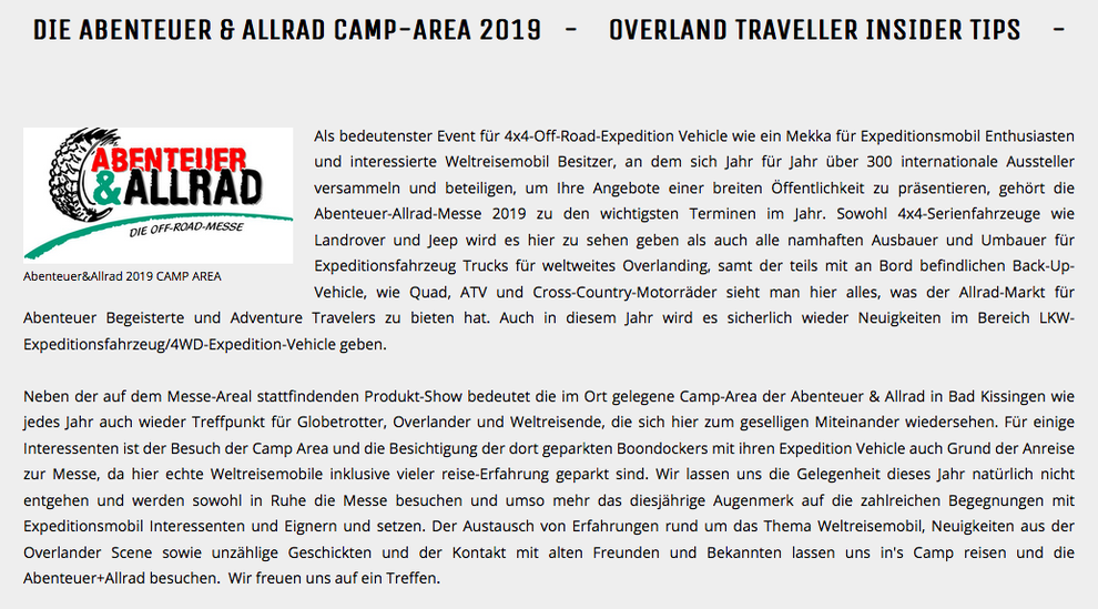 expedition vehicle abenteuer allrad expeditionsmobil expeditionsfahrzeug weltreisemobil fernreisemobil allrad-wohnmobil off-road reisemobil weltreisemobile consulting beratung berater consultant top consulting best consultancy weltreise advice travel expo