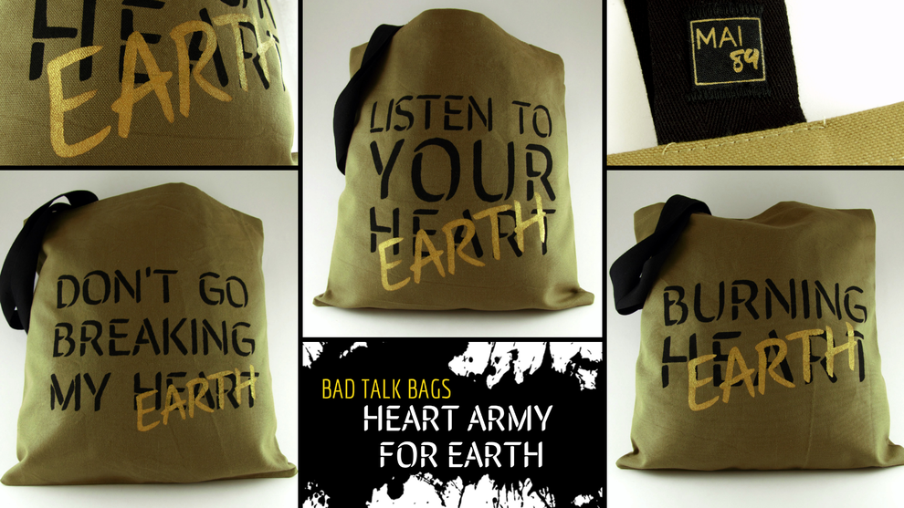 sac tissus recyclé message écolo rock fabrication artisanale ardèche bad talk bag totebag