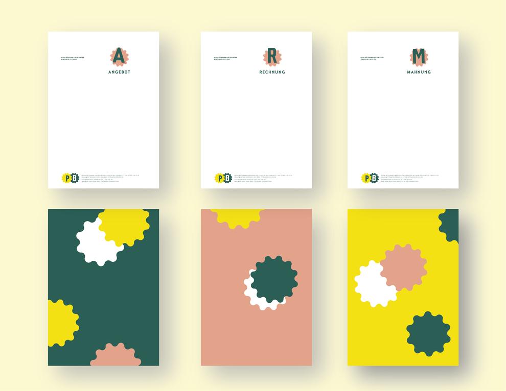 Dokumentvorlagen zu Angebot, Rechnung, Mahnung und dazugehörige Rückseiten in der Farbgebung Grün, Gelb, Weiß und Rosé