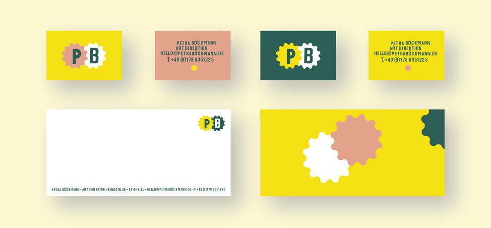 Zwei Versionen von Visitenkarten mit Vorder- und Rückseite und Vordruck für Notizen mit Rückseite für Artdirektion Petra Böckmann von Alexander Kurzhöfer