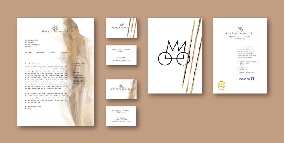Briefpapier für das Grillfahrrad Røstprinzessin in Kiel mit einer gestalteten Rauchschwade, zwei Versionen von Visitenkarten mit Rauchschwade und Abdruck von Grillrost (Vorder- und Rückseite), Flyer mit Abdruck von Grillrost (Vorder- und Rückseite)