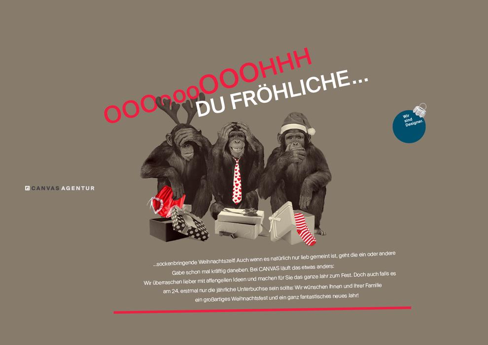 Die drei Affen, die nichts sehen, hören und nicht sprechen, werden zu Weihnachten mit Unterwäsche beschenkt, darüber steht Oh, Du Fröhliche.