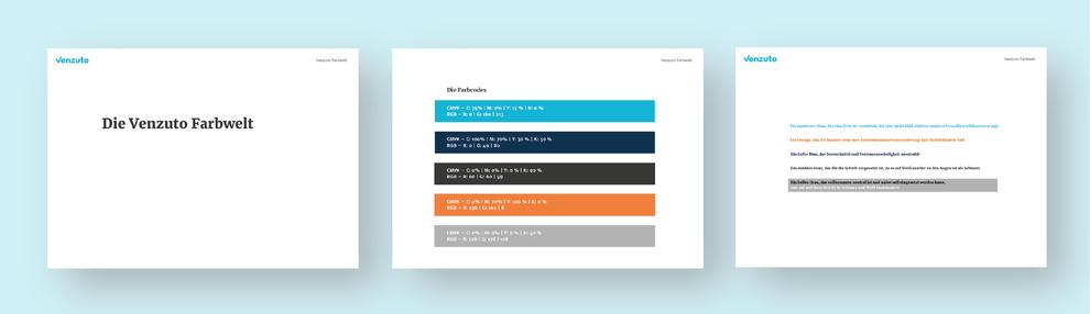 Die Farben Eisblau, Dunkelblau, Dunkelgrau, Orange und Hellgrau als Definition für die Farbwelt des Tiefkühlwareenhändlers Venzuto