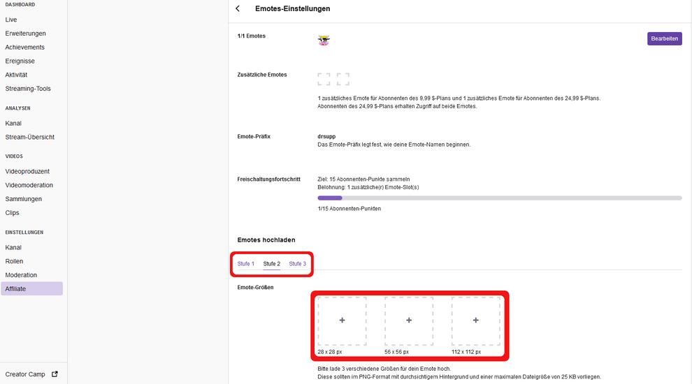 Tutorial Twitch sub emotes hinzufügen oder bearbeiten