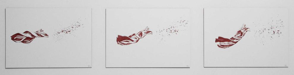 Splash, 2008, Tinte auf Papier, 3 Zeichnungen a A3