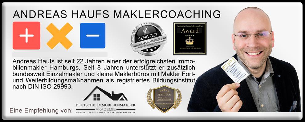 MAKLERCOACH ANDREAS HAUFS IMMOBILIENMAKLER FORTBILDUNG MAKLER FORTBILDUNGSPFLICHT NACHWEISPFLICHT AUSBILDUNG MAKLER WEITERBILDUNG MAKLER COACHING MAKLER ZERTIFIKAT MAKLER LEHRGANG MAKLER AKADEMIE