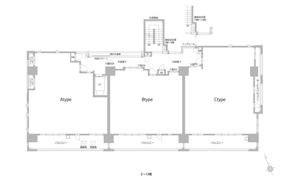 2〜13階平面図