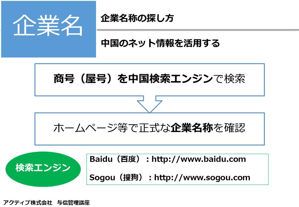 中国企業の正式な名称(会社名)は、企業のホームページ等に乗っている場合があります。 とりあえず屋号(商号)で検索してみて、探してみましょう。 中国の有名な検索エンジンとして、以下があります。 Baidu(百度):http://www.baidu.com Sogou(搜狗):http://www.sogou.com