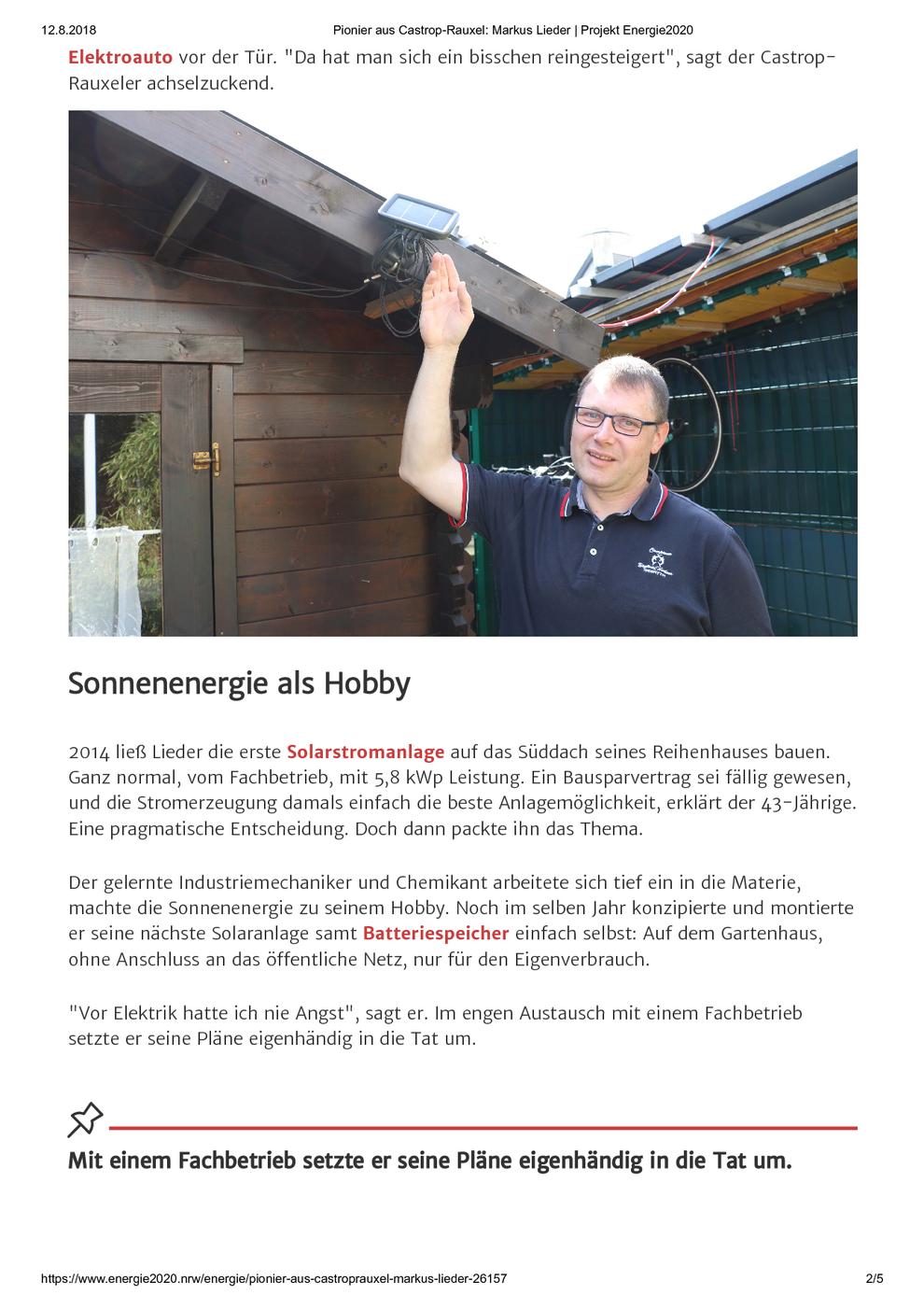 Verbraucherzentrale Nordrhein-Westfalen am 12.08.2018 Pionier aus Castrop-Rauxel: Markus Lieder / Projekt Energie2020, Seite 2/5