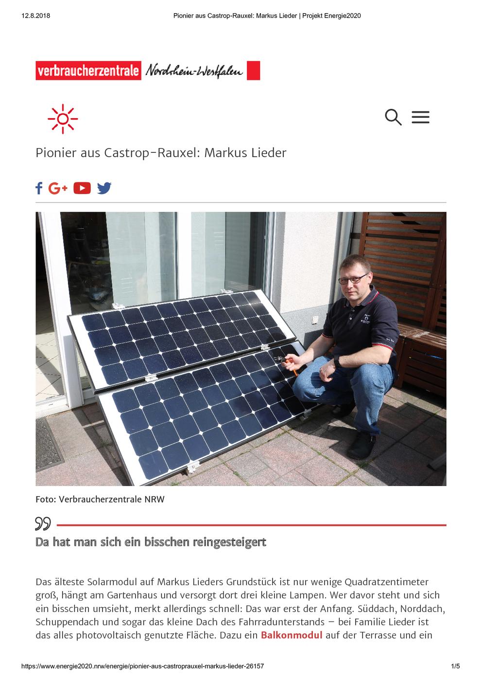 Verbraucherzentrale Nordrhein-Westfalen am 12.08.2018 Pionier aus Castrop-Rauxel: Markus Lieder / Projekt Energie2020, Seite 1/5