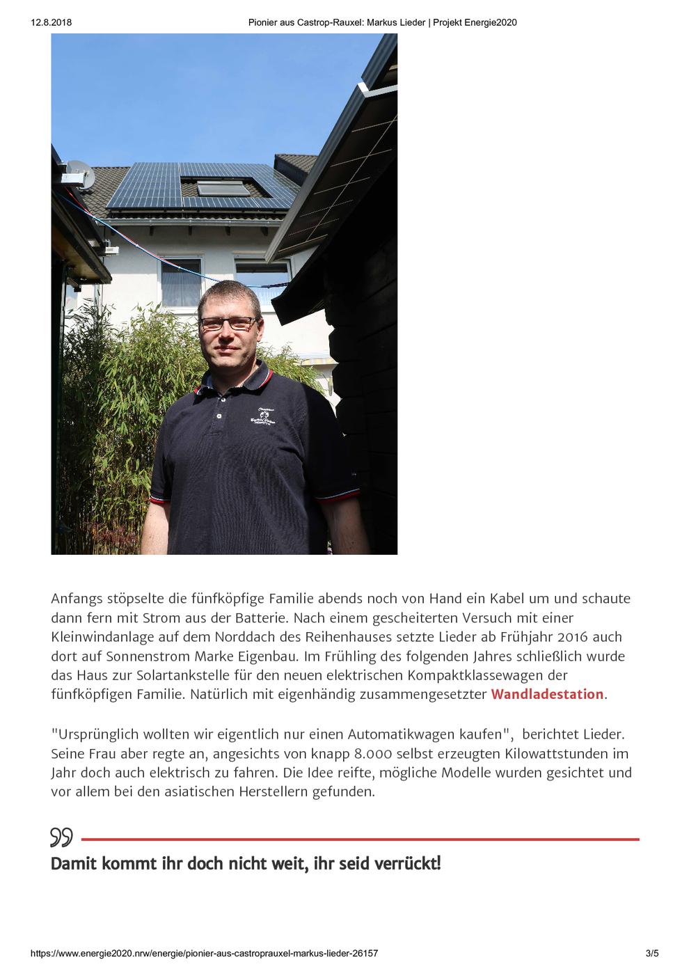 Verbraucherzentrale Nordrhein-Westfalen am 12.08.2018 Pionier aus Castrop-Rauxel: Markus Lieder / Projekt Energie2020, Seite 3/5