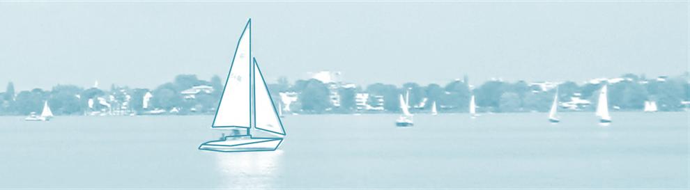 Grafik, Segelboot auf dem Wasser, Symbol für Existenz festigen