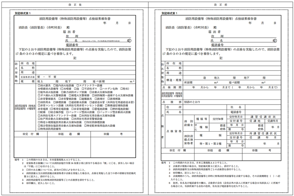 点検結果報告書の表紙 左:改正後 右:改正前