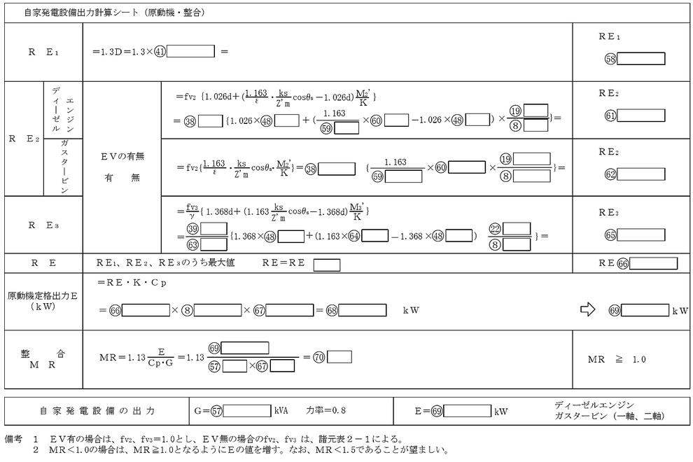 自家発電設備出力計算シート(原動機・整合)