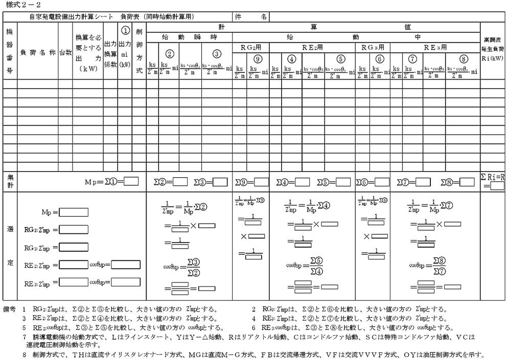 自家発電設備出力計算シート 負荷表(同時始動計算表)