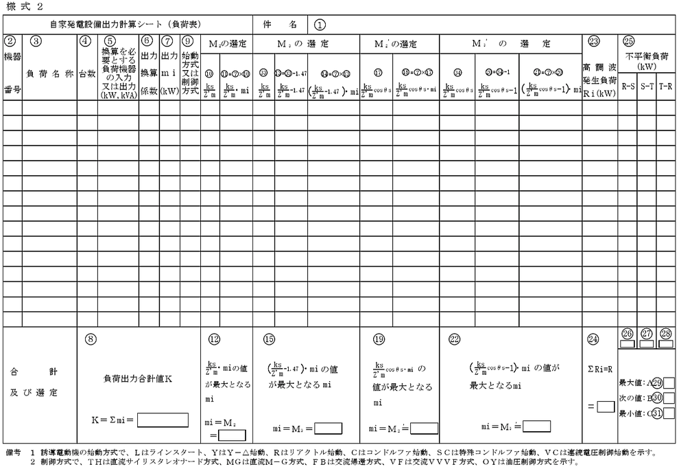 自家発電設備出力計算シート(負荷表)