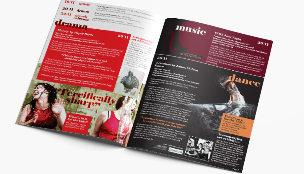 Double page spread of the ARTS@WB A5 brochure, created for West Buckland School, By Design By Pie, Freelance Graphic designer, North Devon