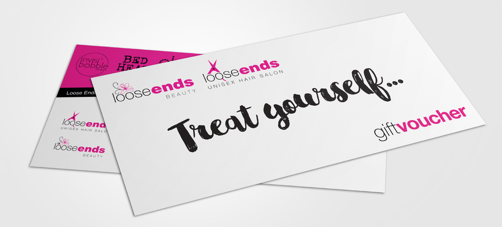 DL gift voucher design in pink, black and white created for Loose Ends Salon, by Design By Pie, Graphic Designer