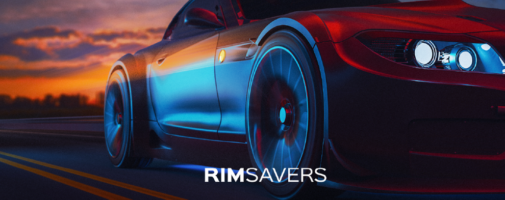Rimsavres website image of car driving in sunset, Design By Pie, Graphic Designer
