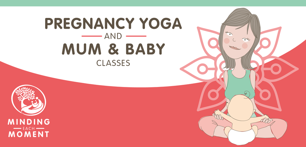 Mindin Each Moment, mum and baby yoga classes,  logo and illustration in brand colours, bu Design By Pie