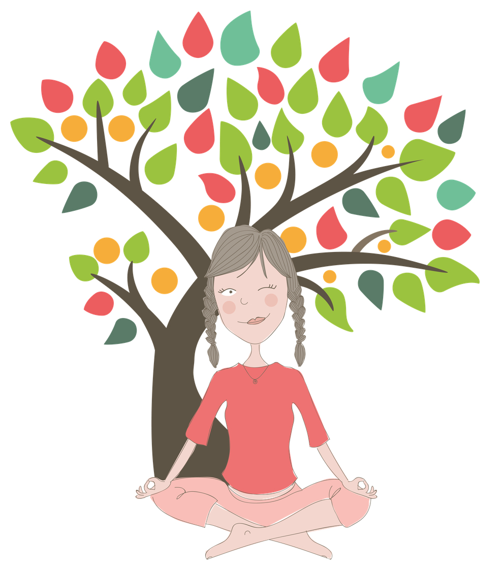 Illustration of woman meditating under a colourful tree, by Design By Pie, Illustrator, North Devon