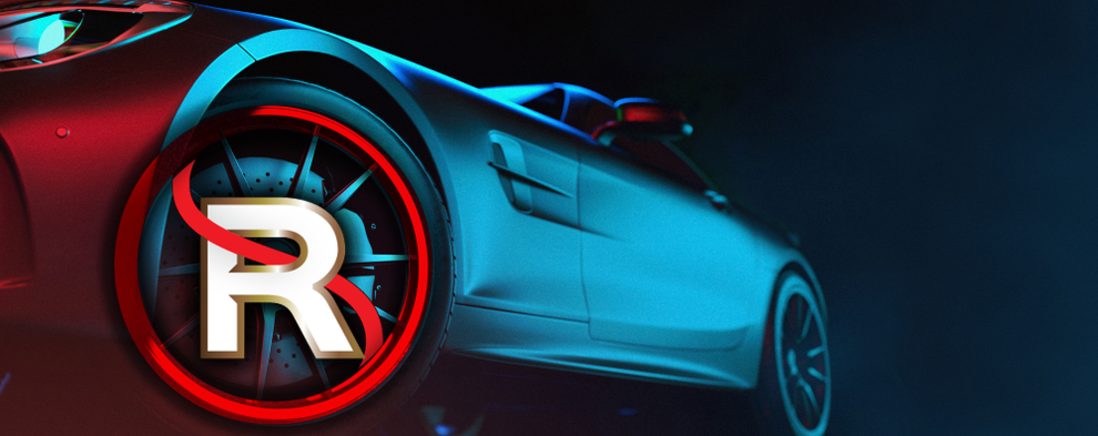 Grapic of car with Rimsavers logo over the wheel, graphic design, website design, Design By Pie, North Devon