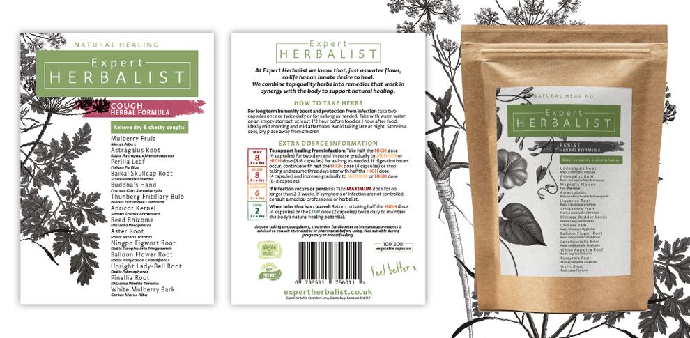 Final label designs for Expert Herbbalist packets, Design By Pie, Graphic Designer, North Devon