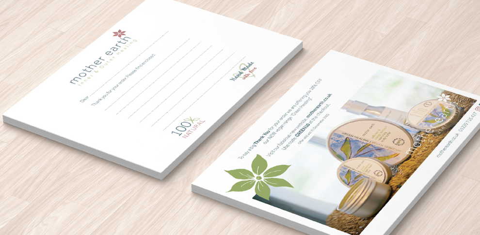 A6 delivery card design for Motther Earth, Design By Pie, Freelance Grapic Designer, North Devon