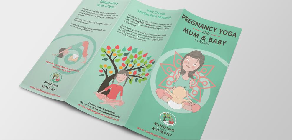 Outside view of trifold leaflet design for preghnancy yoga leaflet, desiigned by Design By Pie, Graphic designer, North Devon