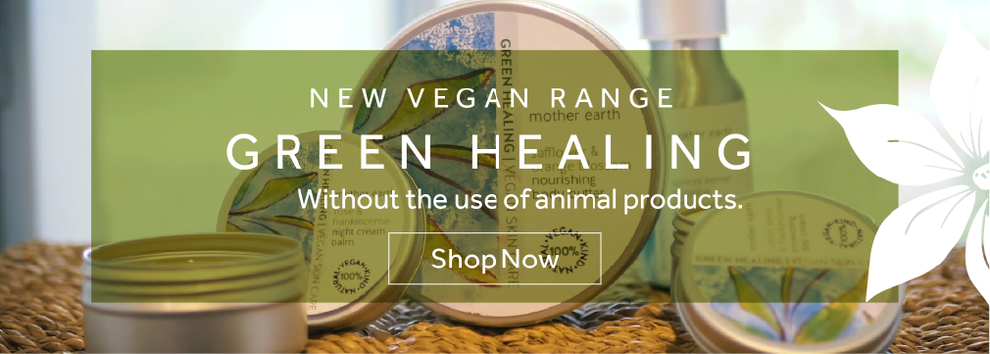 Green Healing website header for Motther Earth, Design By Pie, Freelance Grapic Designer, North Devon