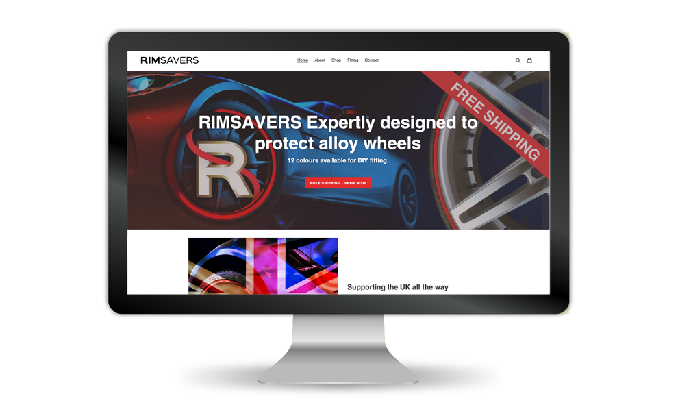 Rimsavers website re-design for 2020 in a desktop screen, Design BY Pie, Graphic Designer, North Devon
