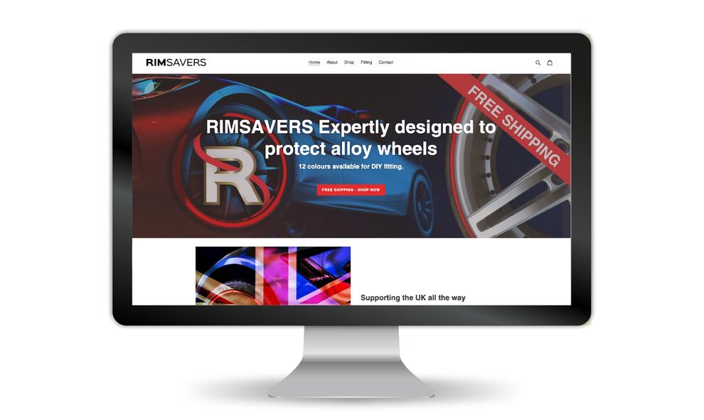 Rimsavers website re-design for 2020 in a desktop screen, Design BY Pie, Graphic Designer, North Devon