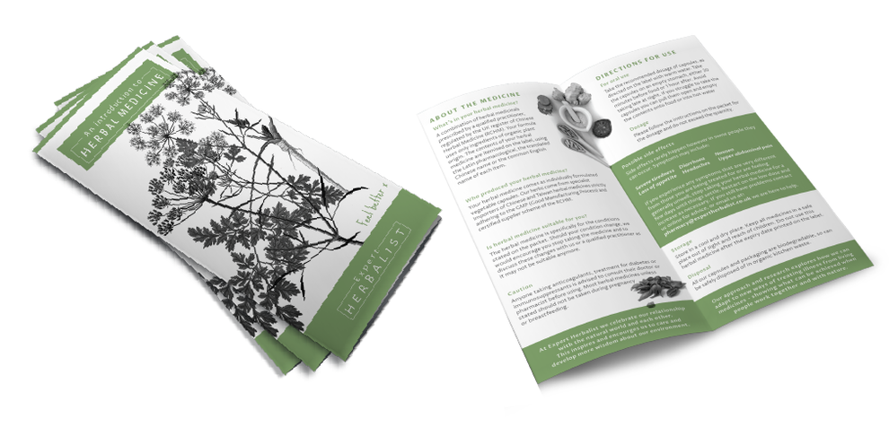 Examples of leaflet design for Expert Herbbalist Brandinng, Design By Pie, Graphic Designer