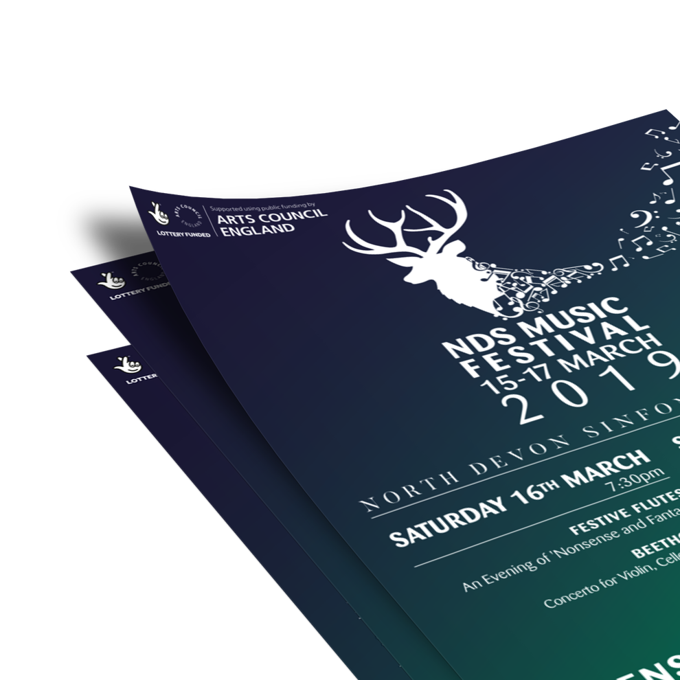 Close-up of Norrth Drvon Sinfonia Festival 2019 Leaflet Design, North Devon, Graphic Designer