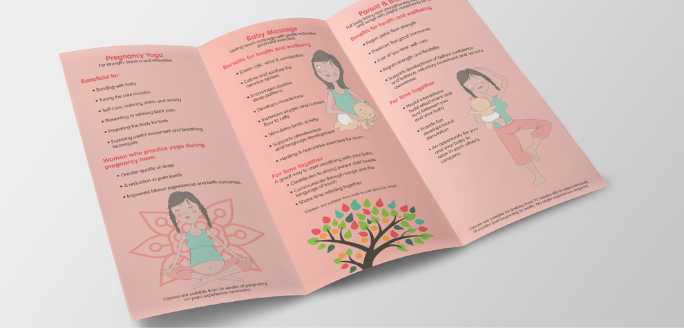 Inside view of tri-fold leaflet with bespoke illustrations, created for Minding Each Moment by Design By PIe, Graphic Designer, North Devon