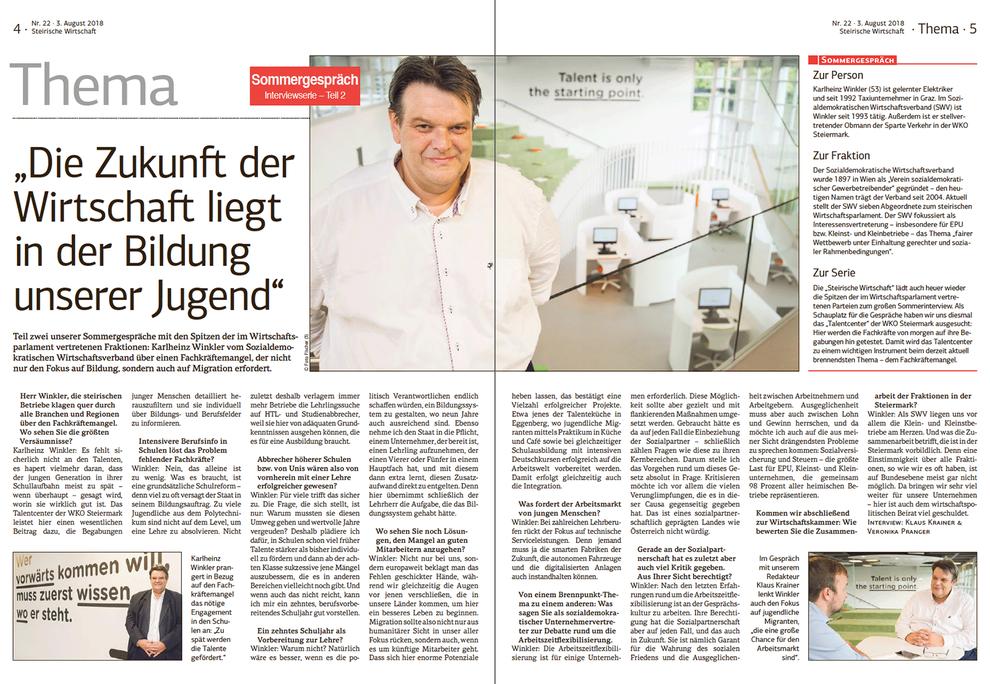 """Karlheinz Winkler: """"Die Zukunft der Wirtschaft liegt in der Bildung unserer Jugend."""""""