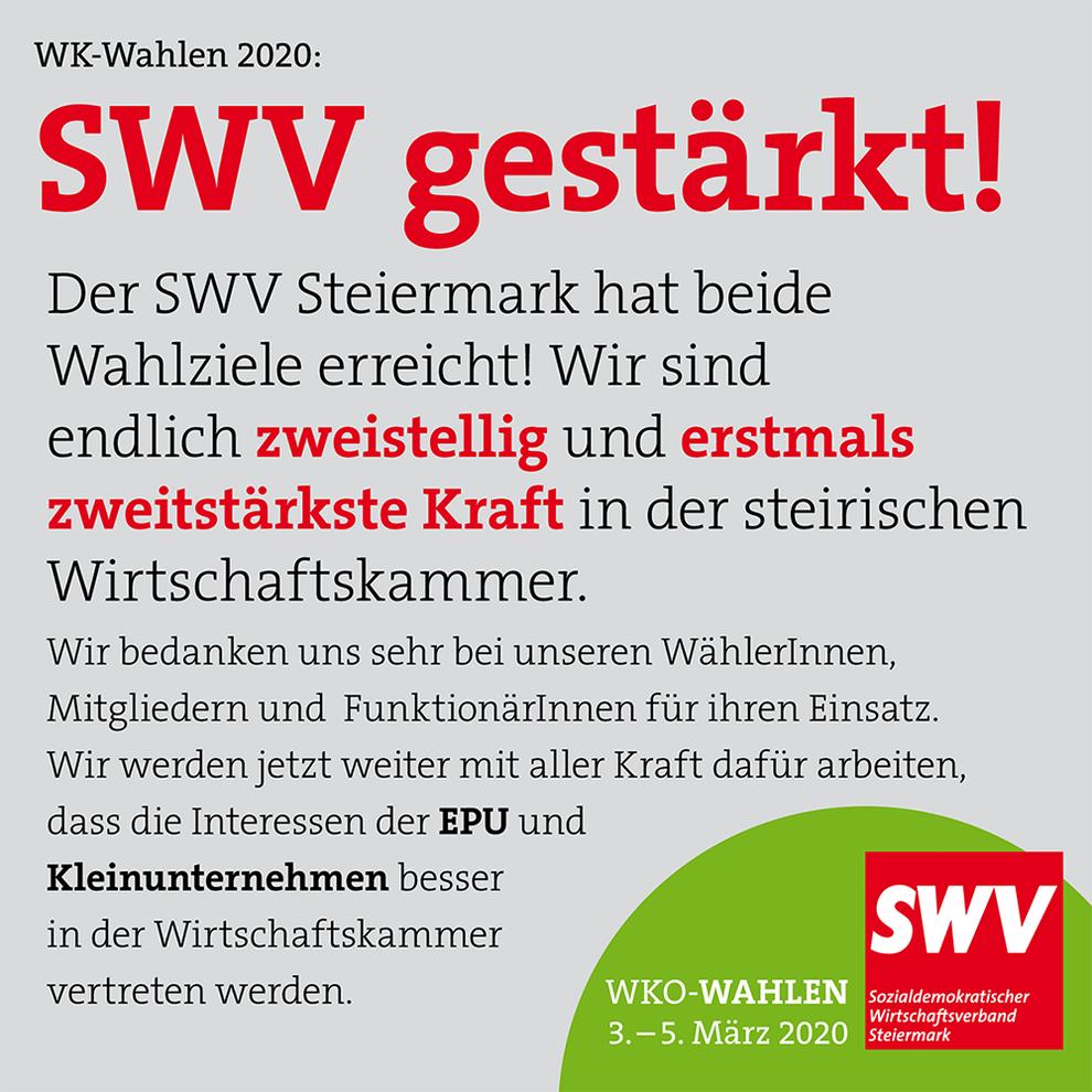SWV Steiermark – alle Wahlziele erreicht! 06.03.2020