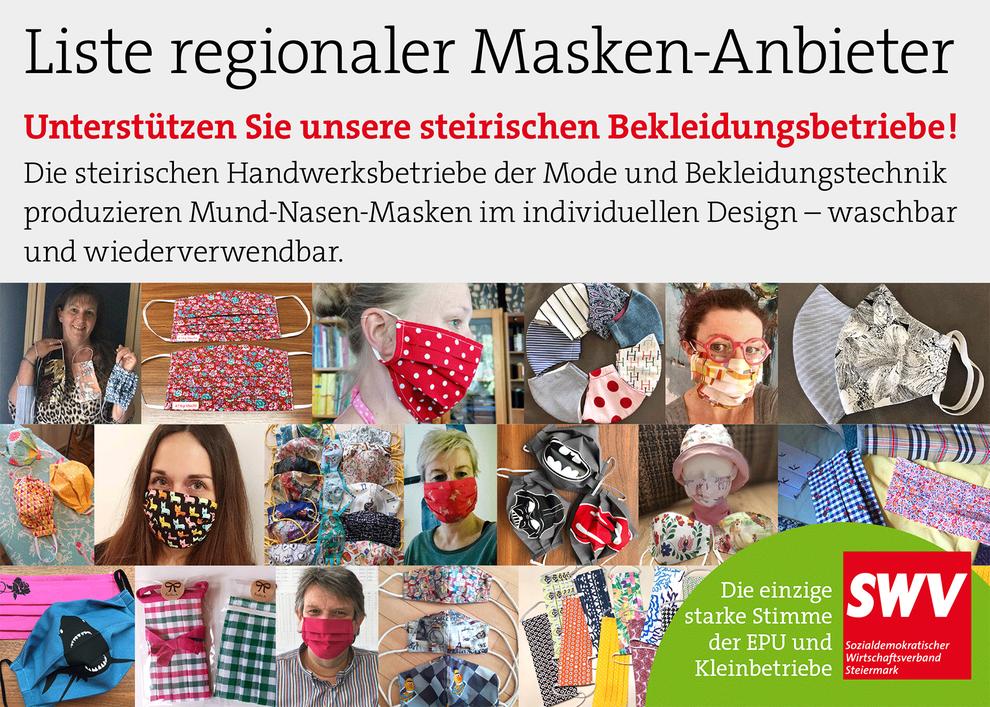 Liste regionaler MNS-Masken-Anbieter in der Steiermark
