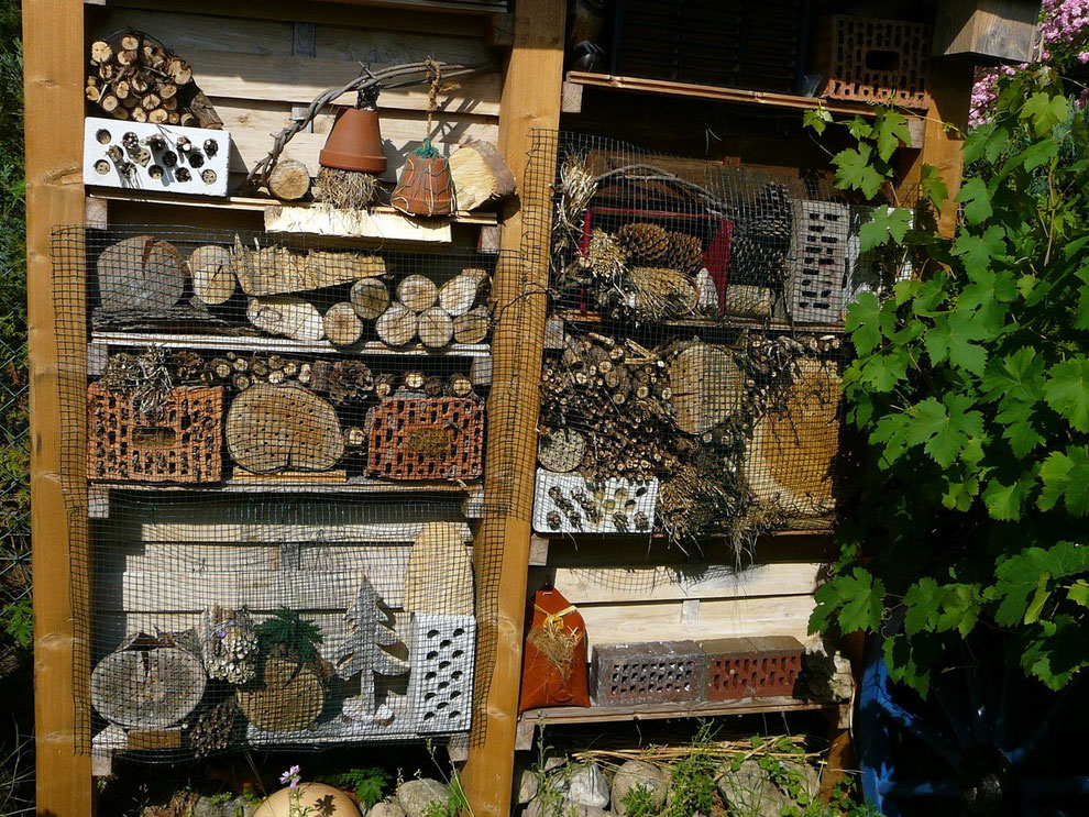 Insekten-Hotel mit verschiedenen Füllmaterialien