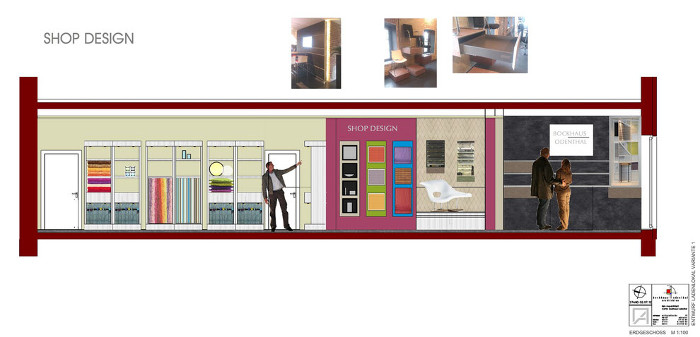Bild2: variante2:shop design, inneneinrichtung,präsentation der materialien, möbelentwurf, wandgestaltung, bockhaus-odenthal architekten münster