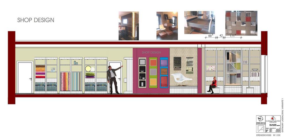 Bild3: variante3:shop design, inneneinrichtung,präsentation der materialien, möbelentwurf, wandgestaltung, bockhaus-odenthal architekten münster