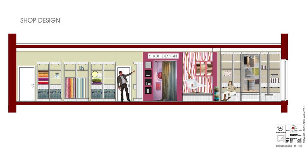 Bild1: variante1:shop design, inneneinrichtung,präsentation der materialien, möbelentwurf, wandgestaltung, bockhaus-odenthal architekten münster
