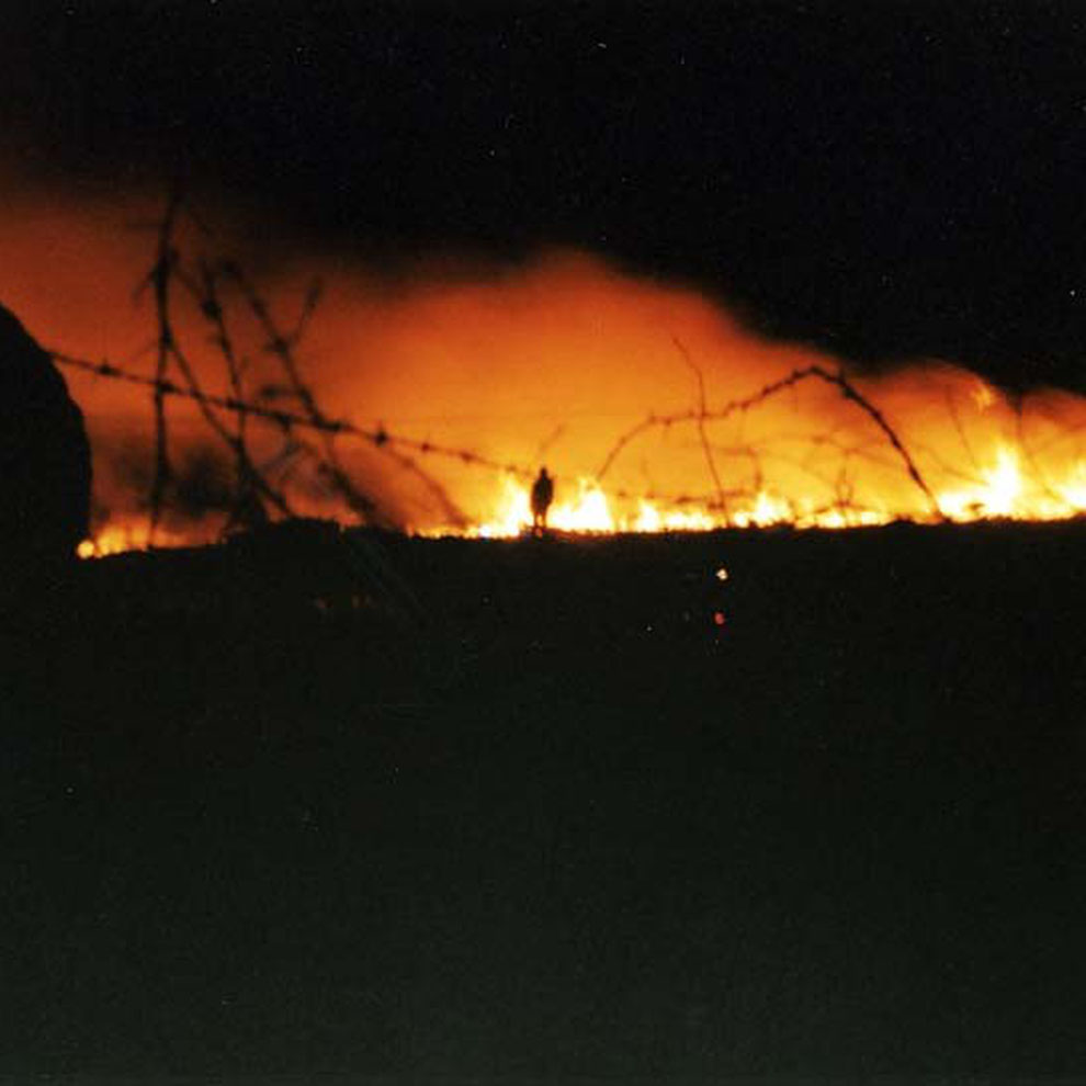 Burnt Moor with fireman 1996 (Mulfra moor)