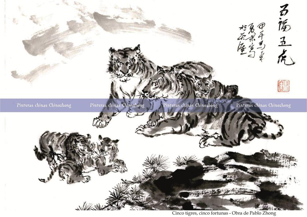 Cinco tigres, cinco fortunas - Obra de Pablo Zhong