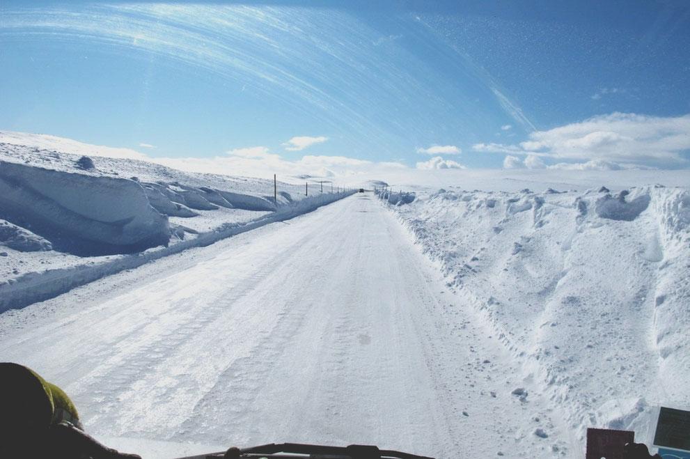 bigousteppes norvège route glace neige