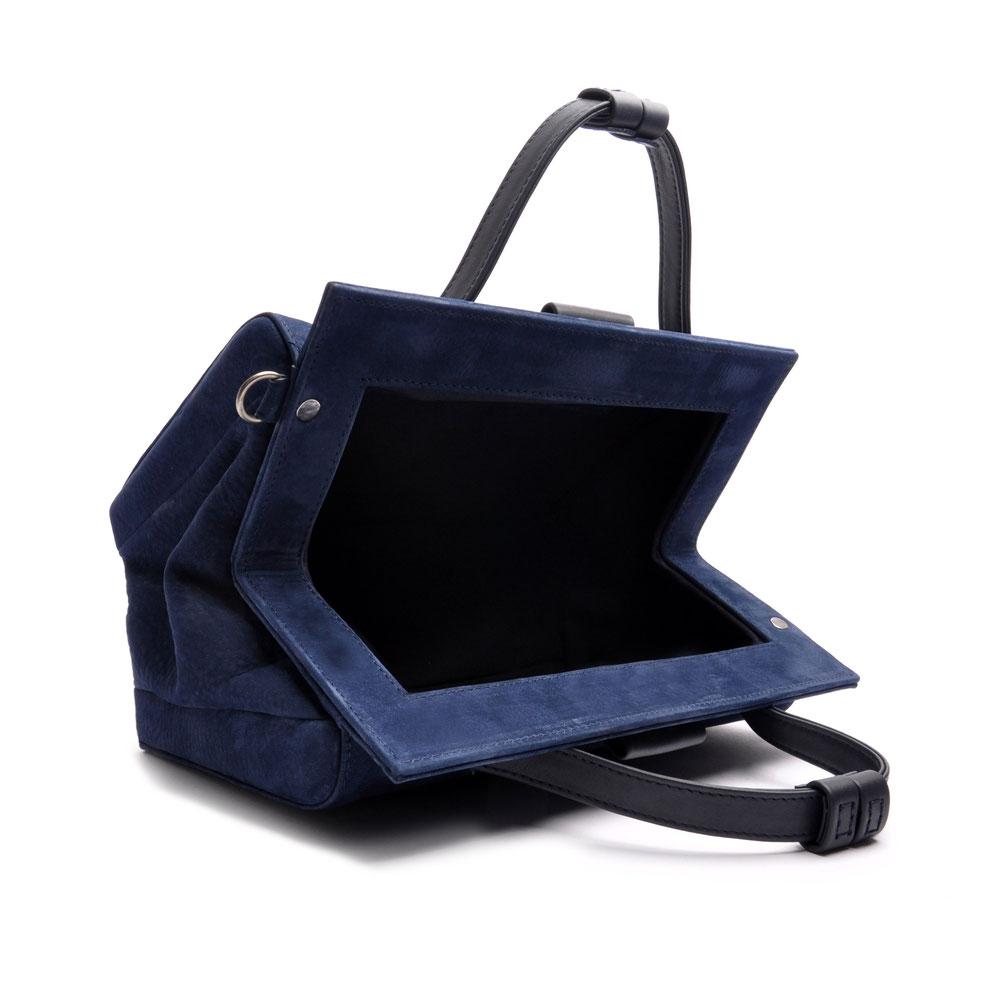 handgefertigte Henkeltasche MARIE Vintagelook Leder blau OSTWALD Tradition