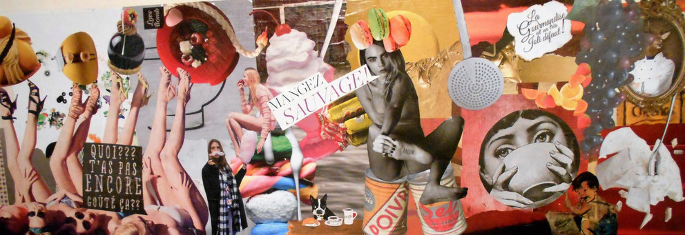 """tableau personnalisé, collage """"mangez sauvage"""""""